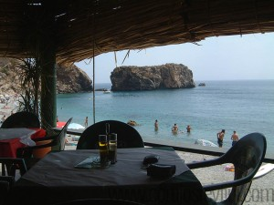 View of the beach from the restaurant el Canuelo